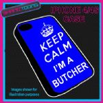FITS IPHONE 4 / 4S PHONE KEEP CALM IM A  BUTCHER PLASTIC COVER COOL GIFT BLUE